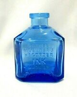 Repro Antique Daniel Webster's Ink Bottle Blue Square Made By Waterman Wheaton
