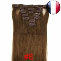 EXTENSIONS DE CHEVEUX A CLIPS 100% NATURELS REMY HAIR 53CM CHATAIN NOISETTE #8