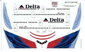 Desseré, Minicraft Delta Airlines, Boeing 777-200 Décalques 1/144 #14495 N Inst