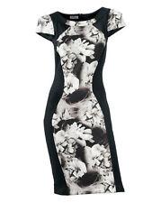 Satin Jerseykleid Gr. 34 36 schwarz grau Blumen CLASS HEINE Kleid NP90€