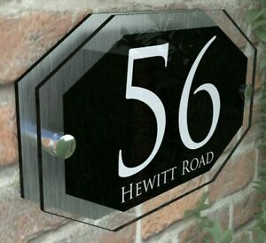 Modern HOUSE PLAQUES / PLAQUE / DOOR / NUMBER / GLASS EFFECT ACRYLIC / Wall Sign