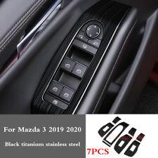 For Mazda 3 2019 2020 Black titanium Inner Window Switch Panel Frame Cover Trim