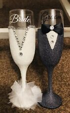 Bride and groom, Wedding day, Champagne Flutes, Gifts For Her and Him