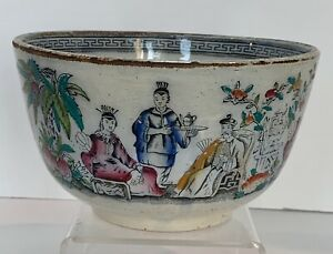 Antique Ironstone Chinoiserie Transferwre Bowl