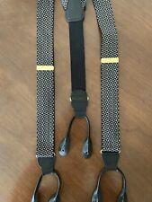CAS W Germany Pant Braces Suspender Leather Button On Adjustable Black Geometric