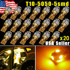 20x  T10 /194/168/2825 5 LED Amber Yellow Instrument Lights Lamp Bulbs 5050 SMD