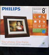 "Philips Home Essentials Digital PhotoFrame 8"" LCD Panel Mahogany Wood Frame"