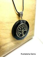 Orgone Black Tourmaline Tree Pendant Orgonite Schorl Reiki Protective Necklace