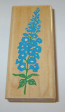 """Foxglove Flowers Rubber Stamp Blossoming Stampede 3 3/8"""" High Wood Mounted"""