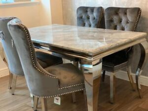 Grey Marble 140CM Dining Table +4 Dark Grey Velvet Chairs with lion knockers