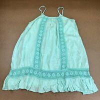 Exist Women's Size XL Teal Green Crochet Trim Sleeveless Layered Tunic NWT
