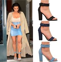LADIES WOMENS HIGH BLOCK HEELS PARTY FASHION DENIM STYLE SANDALS SHOES SIZE 3-8