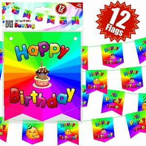 Birthday Banner Flags Bunting Party Boys Girls theme supplies Flag Happy Unisex