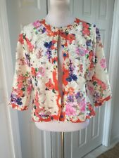 NWT  Michael Simon  Multicolor Floral Lace Cardigan Silk Trim 3/4 Sleeve L