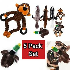 Puppy Dog Rope Pull Puppy Dog Toy Xmas Toys Chew Plush Squeaky Soft 5 Pack Set
