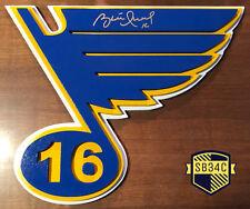 "Brett Hull #16 Signed St. Louis Blues Logo 3 Layer Wood Logo 22"" x 18"" JSA COA"