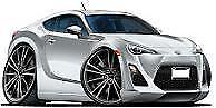 2013-2018 Scion FR-S Toyota 86 Satin White Pearl Cartoon t-shirt FRS sizes S-3XL
