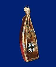 ROWBOAT OLD WORLD CHRISTMAS GLASS BOAT NAUTICAL FISHING THEME ORNAMENT NWT 46045