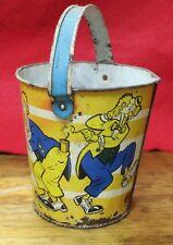 Antique Vintage Ohio Arts Child's Tin Metal Sand Pail Lithograph Clowns