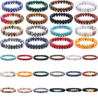 Men Women 8mm Lava Rock Chakra Bead Elastic Natural Stone Agate Bracelet Jewelry