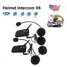 Pair Motorcycle Bluetooth Helmet Intercom Interphone 1200m 6 Riders Waterproof