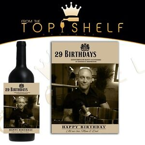 personalised replica 19 crimes wine bottle label your photo, name and greetings
