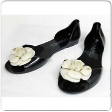 CHANEL Color Jelly Camellia Flat Black/Cream Flower Sandals Size 40