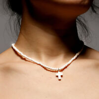 Exclusive Natural Stone Cross Pendant Necklaces Cute for Women Beaded Choker.