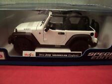 """Maisto 2014 Jeep Wrangler Willys"""" 1/18 scale  NIB 2021  release white exterior"""