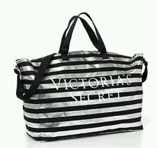 NWT VICTORIA'S SECRET SILVER & BLACK STRIPE TOTE BAG SHOPPER WEEKENDER LIMITED