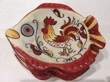 Set of 4 Maxcera Red Yellow Rooster Hand Painted Fish Shaped Appetizer Bowls