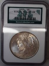 1922 Silver Peace Dollar Binion Collection Hoard NGC MS 64 Light Toning US Coin