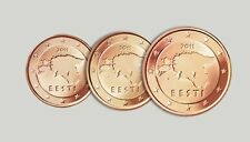 ESTONIA SET of Euro coins 2011 - 1 cent 2 cent 5 cent UNC
