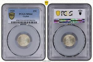 CEYLON SILVER 25 CENTS UNC COIN 1925 YEAR KM#105a PCGS GRADING MS64 GEORGE V