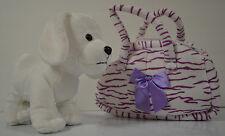 Plush Stuffed Puppy Dog with Animal Print Carrier Handbag NEW