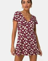 MOTEL ROCKS  Elara Tea Dress in Wild Fleur Maroon   (MR55)