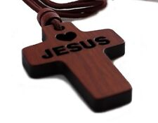 "Christian Wooden Wood Pectoral Cross with 34"" Rope Cord Necklace – Jesus Heart"