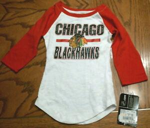 Girls Chicago Blackhawks Long Sleeve T-Shirt, White W/Red Sleeves, Sizes, NEW