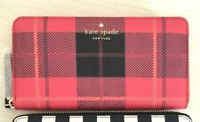 NWT Kate Spade Fairmount Square Red Newbury Lane Plaid Lacey Neda Wallet Clutch