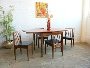 Vintage 60s 70s Mid Century Modern Elliots of Newbury Dining Table & 4 Chairs