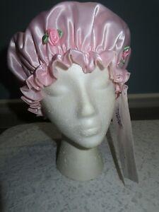 Mimi A La Mode Designer Shower Cap Washable  Pink Rose Large Bouffant Cap