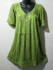 Top Fits 1X 2X 3X Plus Tunic Green Tie Dye Smock V Neck A Shaped NWT 5780