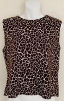 ST JOHN Women Knit Top Sz L Brown Ivory Pattern Sleeveless