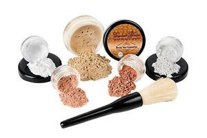 6 pc. STARTER KIT (WARM) Mineral Makeup Set Bare Skin Matte Foundation Cover