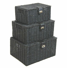 Storage Basket Hamper Black Resin Woven Set of 3 Box With Lid & Lock