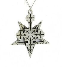 Inverted Pentagram & Cross Necklace w/ Black Inlay Occult Ritual Death Metal