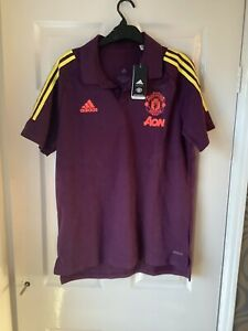 BNWT Manchester United FC 2020/21 Adidas EU CO Polo Shirt Purple Large