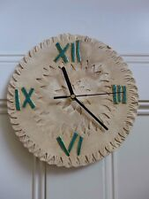 Ceramic Wall Clock Hand Made Flower Sun Design Wall Art Cottage Farm Home 05-10
