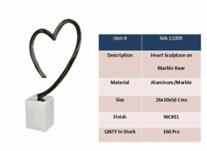 Aluminum Heart Sculpture on Marble Base 26 x 10 x 56 cm Nickle Finish
