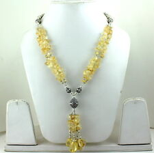 NECKLACE NATURAL YELLOW CITRINE BEADED GEMSTONE 78 GRAMS